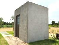 静岡県浜松市外構,インダストリアルなコンクリート製小屋,カッコイイ小屋,アンティークを使ったコンクリート製モルタル小屋