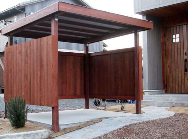 オリジナルの自転車小屋、カッコイイ自転車小屋、木製自転車小屋、オシャレな自転車小屋